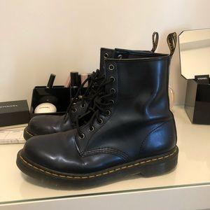 Dr. Martens Pascal patent blue boots